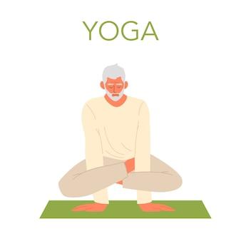 Alter mann, der yoga macht