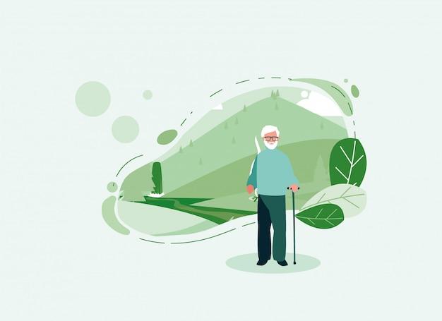 Alter mann des großvateravatars vor einer landschaft