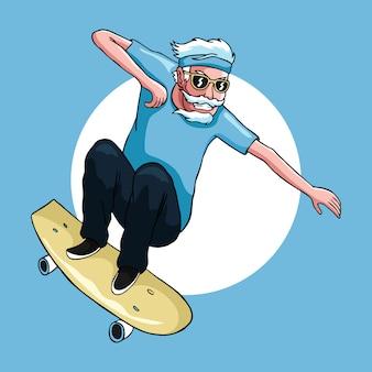 Alter mann genießt das spielen des freestyle-skateboards in seiner alten weinlese-handzeichnungskunstillustration des alters