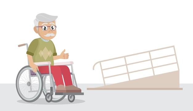 Alter mann im rollstuhlfahren und rampe