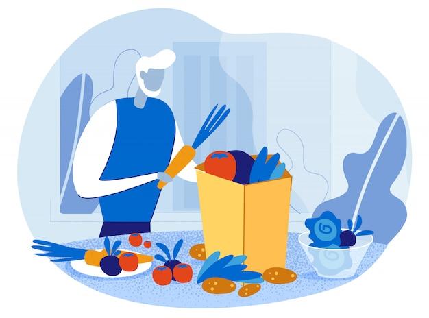 Alter mann mit lebensmittelbeutel gefüllt gesundes essen