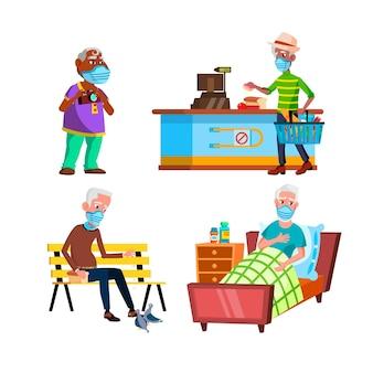 Alter mann mit schützenden gesichtsmasken-set. ältere großvater tragen medizinische schutz-gesichtsmaske im krankenhaus und lebensmittelgeschäft, im park und bei ausflügen.