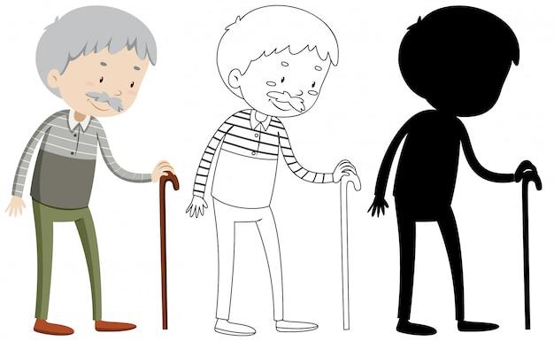 Alter mann mit seinem umriss und der silhouette