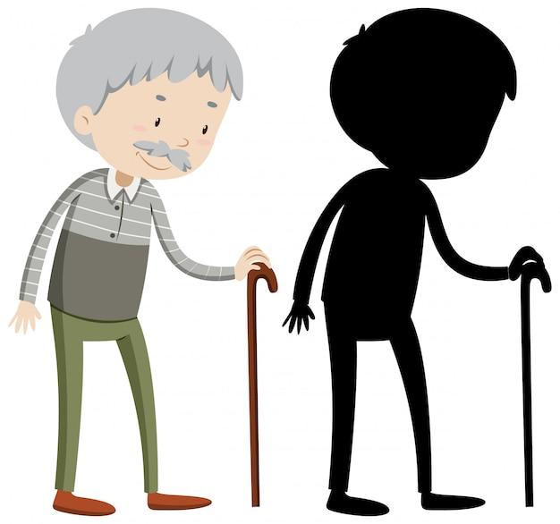Alter mann mit seiner silhouette