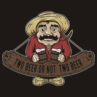 Alter mann mit zwei pints bier emblem