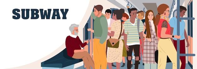 Alter mann sitzt in u-bahn-wagen voller menschen kümmere dich um ältere menschen überfüllte u-bahn oder u-bahn problem der überbevölkerung der stadt und des städtischen verkehrs flache cartoon-vektorillustration
