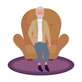 Alter mann sitzt