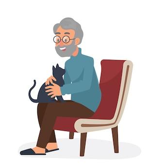 Alter mann und die katzenillustration