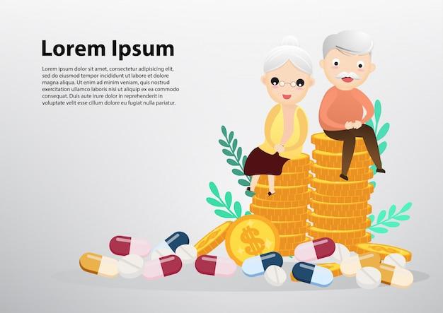 Alter mann und frau, die auf münzen-, geschäfts- und gesundheitswesenkonzept sitzt.