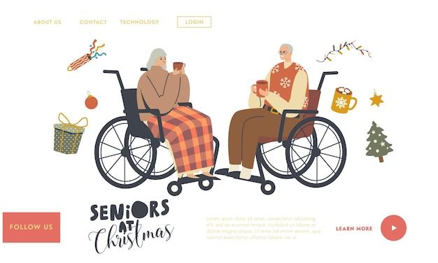 Alter mann und frau urlaub feier landing page vorlage. senioren sitzen im rollstuhl und trinken heiße getränke, alte charaktere feiern weihnachten, gruß. lineare menschen-vektor-illustration