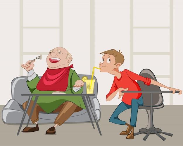 Alter mann und junge, die mahlzeit in einem restaurant essen