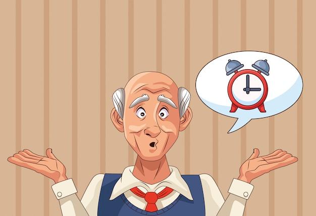 Alter mannpatient der alzheimer-krankheit mit wecker