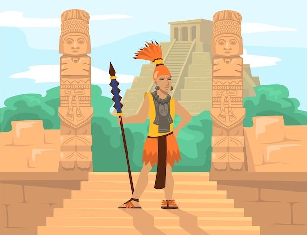 Alter maya-krieger mit speer vor idolen und pyramide