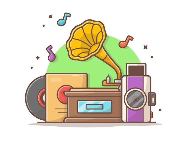 Alter musik-spieler mit grammophon, kamera und vinylmusik-vektor-illustration