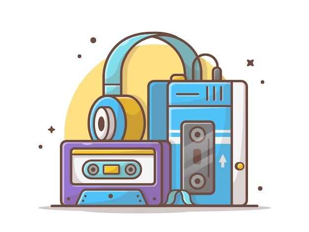 Alter musik-spieler mit kassetten-und kopfhörer-musik-vektor-ikonen-illustration. retro- und vintager spieler. technologie-und musik-ikonen-konzept-weiß lokalisiert