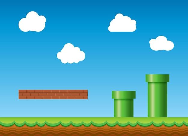 Alter retro-videospielhintergrund. klassische spieldesign-landschaft im retro-stil.