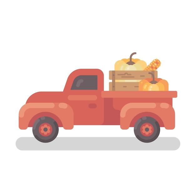Alter roter bauernhof-lkw mit flacher illustration der kürbise
