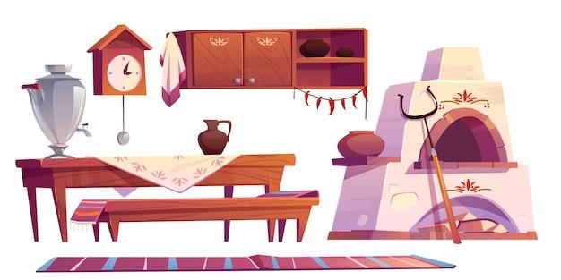 Alter russischer innenraum für traditionellen ofen der küche