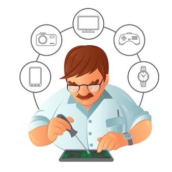 Alter schnurrbartreparaturmann im brillenreparaturgerät mit einem schraubendreher im service-center mit digitalem gerät