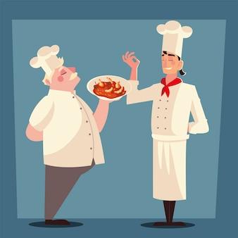 Alter und junger koch mit suppenplatte arbeiter professionelle restaurant vektor-illustration