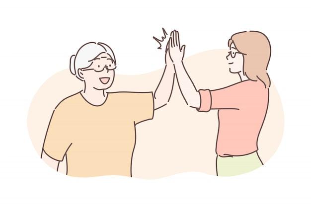 Alter und junges glückwunschkonzept