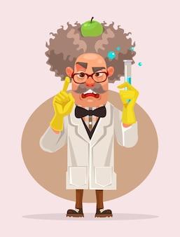 Alter verrückter wissenschaftlercharakter halten reagenzglas