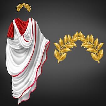 Alter weißer toga auf dem roten kittel und goldenem realistischem vektor des lorbeerkranzes 3d lokalisiert. kaiser des römischen reiches, glorreicher staatsbürger der republik, berühmte philosophenkleidung, triumphsymbol