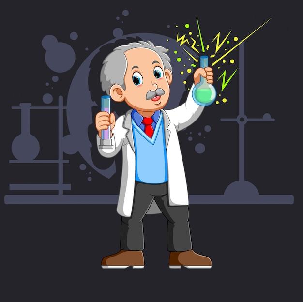 Alter wissenschaftler mit einer flasche