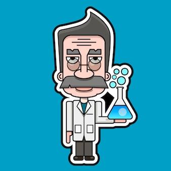 Alter wissenschaftler symbol retro cartoon design vektor illustration