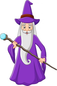 Alter zauberer der karikatur, der magischen stock hält