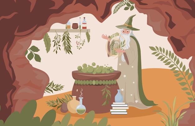 Alter zauberer, der magisches gift mit flacher illustration magiermann vorbereitet
