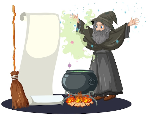 Alter zauberer mit schwarzem zaubertopf und besenstiel und leerem bannerpapierkarikaturstil lokalisiert auf weiß