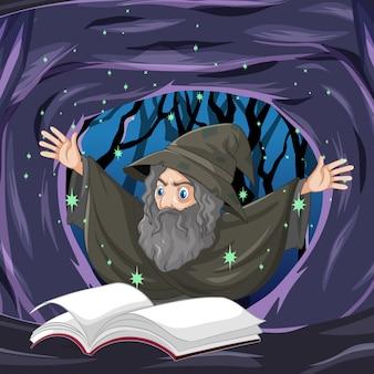 Alter zauberer mit zauber- und buchkarikaturart auf dunklem höhlenhintergrund