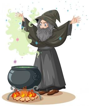 Alter zauberer mit zauber- und zaubertopfkarikaturart lokalisiert auf weißem hintergrund