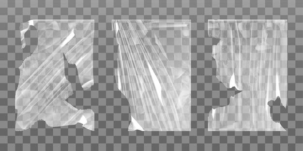 Alter zellophan-stretchfilm mit gerissenen kanten