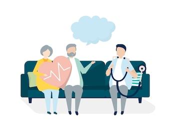 Ältere Leute, die eine Überprüfung an einem Krankenhaus erhalten