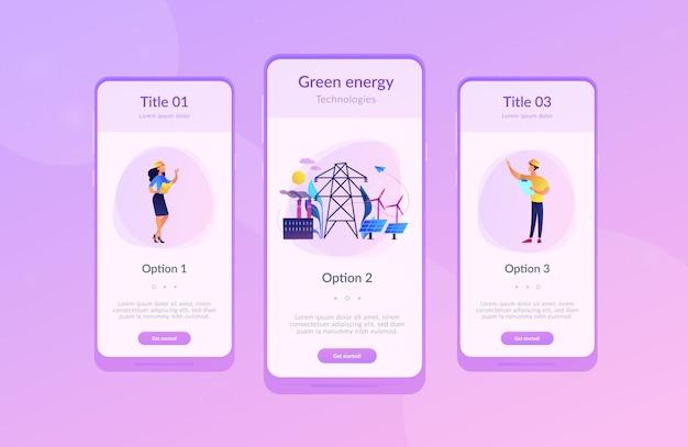 Alternative energie app interface-vorlage.