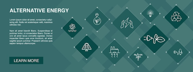 Alternative energie banner 10 icons konzept. solar power, wind power, geothermal energy, recycling simple icons