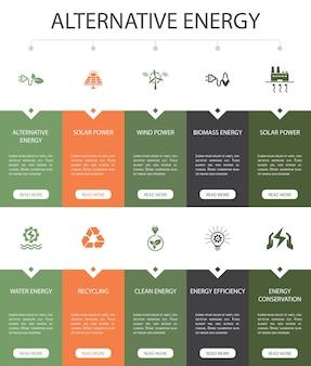 Alternative energie infografik 10 option ui-design. solar power, wind power, geothermal energy, recycling simple icons