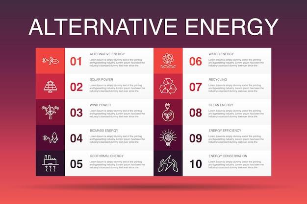 Alternative energie infografik 10 optionsvorlage. solarenergie, windkraft, geothermie, recycling einfacher symbole