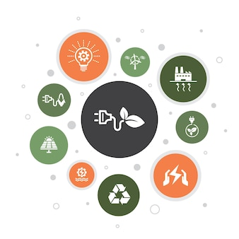Alternative energie infografik 10 schritte blasendesign. solar power, wind power, geothermal energy, recycling simple icons
