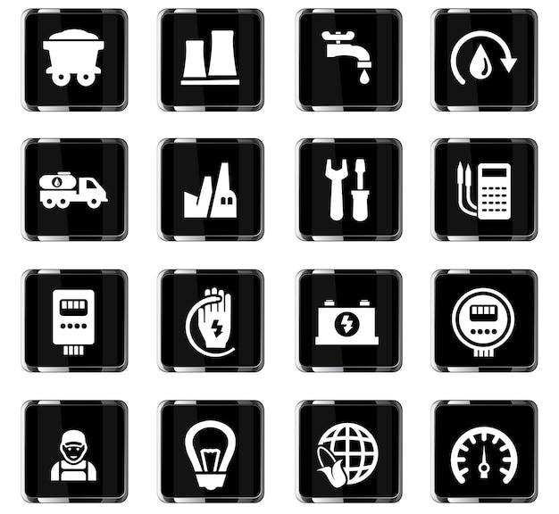 Alternative energievektorsymbole für das design der benutzeroberfläche
