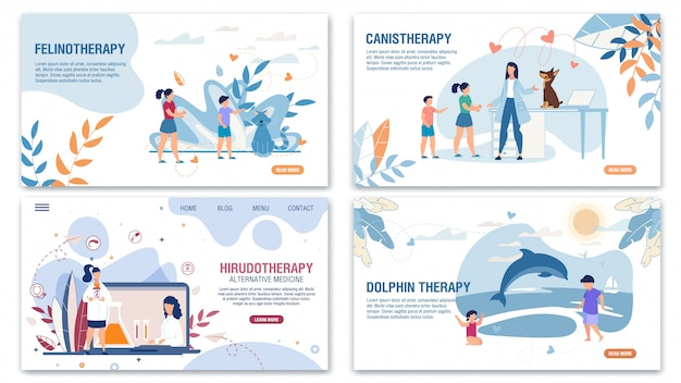 Alternative medizinische methoden landing page flat set
