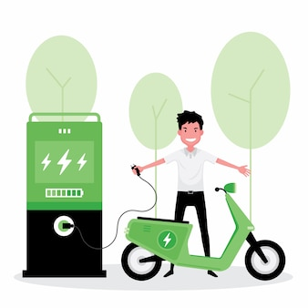 Alternative oder grüne energie kennzeichnen einen mann, der seinen roller elektrisch auflädt