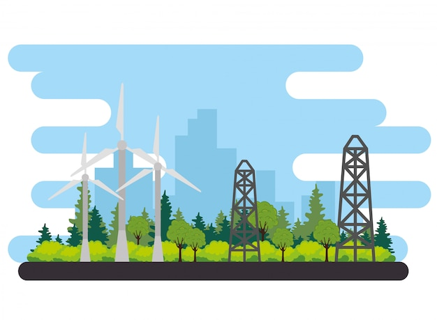 Alternative szene vektor-illustration design der windkraftanlage energie