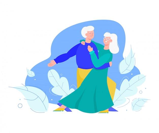 Altes älteres familienpaar tanzt zusammen karikaturvektorillustration lokalisiert.