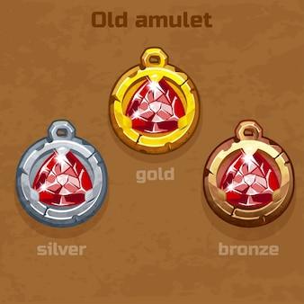 Altes amulett aus gold, silber und bronze mit juwel