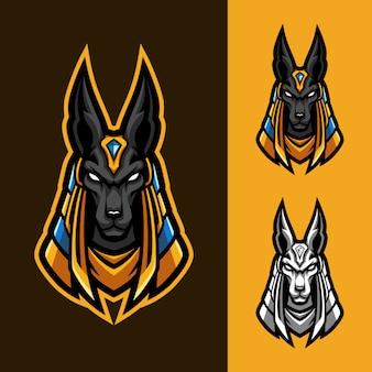 Altes anubis esport maskottchen logo set