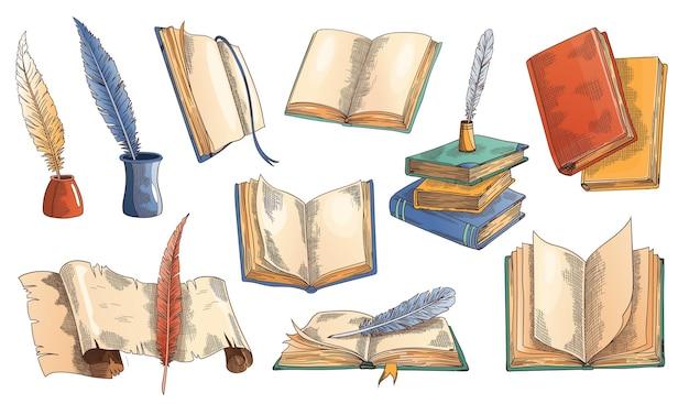 Altes buch. satz alter offener bücher mit leerer seite, pergamentpapierrolle mit antiker vintage-feder und federkielstift im tintenfass.