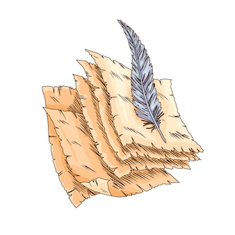 Altes buch. vektor altes scroll-papier mit vintage-antike-feder. altes pergamentpapier. retro-schreibwaren für poesiearbeit oder bildung